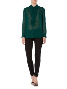 Bardot Long Sleeved Ruffle Button Blouse