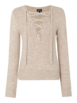 Long Sleeved Lace Up Jumper
