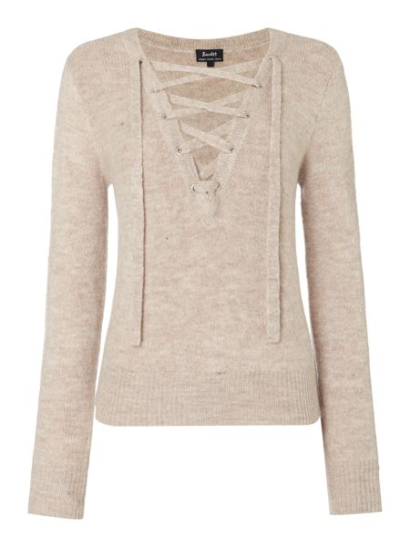 Bardot Long Sleeved Lace Up Jumper