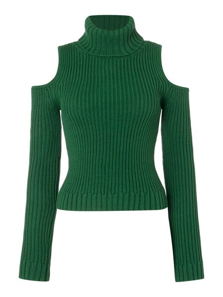 Bardot Sleeveless Cold Shoulder Roll Neck Jumper