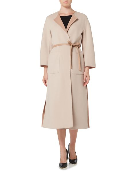 Max Mara TORTONA Belted collarless wool coat