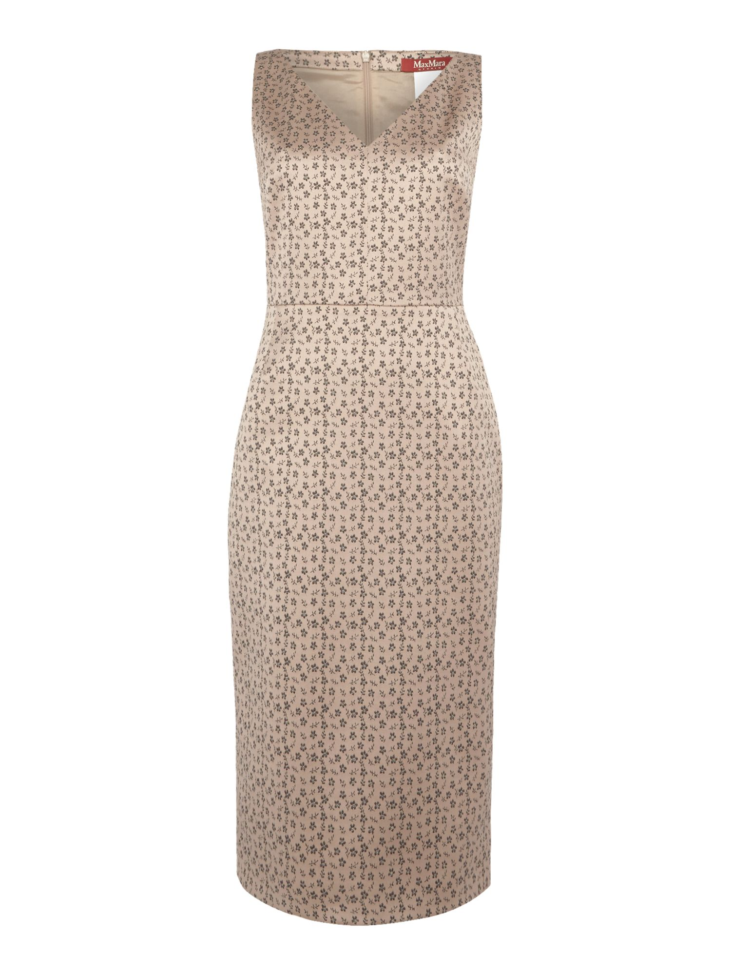 Max Mara Studio EXPLOIT sleeveless micro floral jaquard dress, Nude