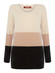 Max Mara TEORIA cashmere colour block jumper