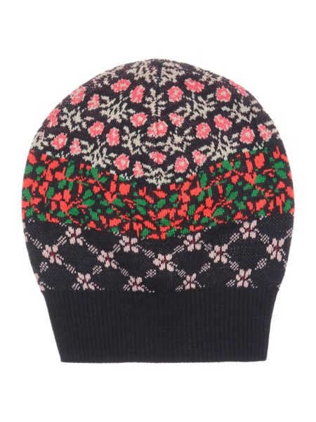 Benetton Girls Floral Fairisle Bobble Hat
