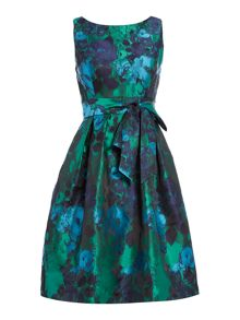 Eliza J Sleeveless floral jacquard fit and flare dress