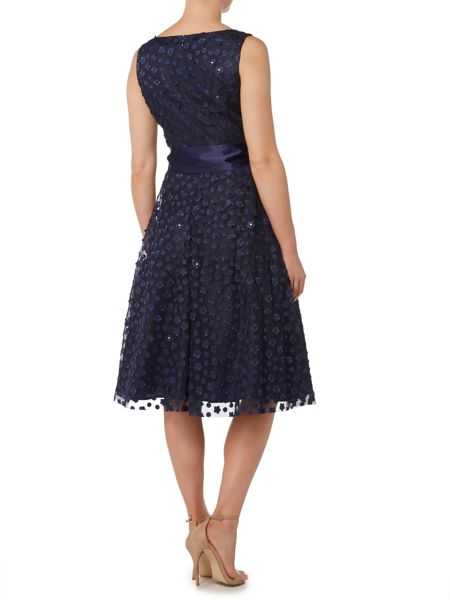 Eliza J Sleeveless fit and flare dress with 3D flowers