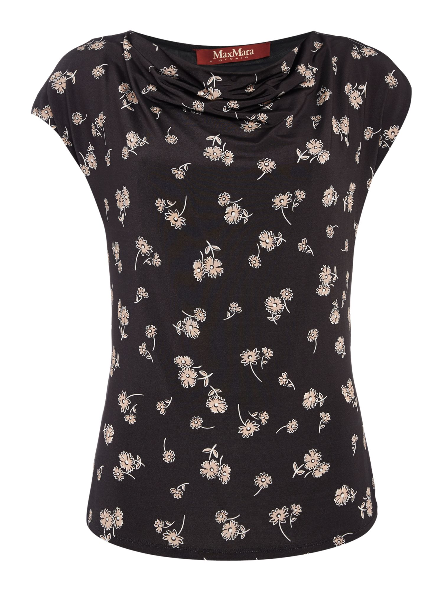 Max Mara Studio GIBERNA cap sleeve printed top with cowl neck, Black