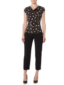 Max Mara GIBERNA cap sleeve printed top with cowl neck