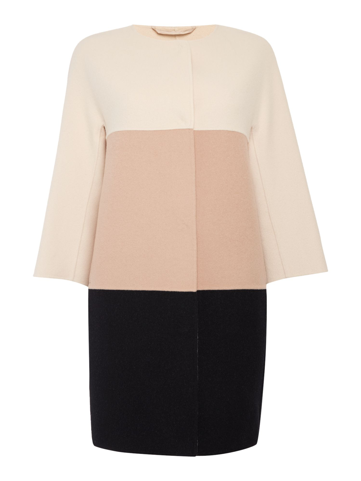 Max Mara Studio LICIA 3/4 sleeve colour block coat, Powder Pink