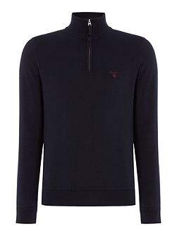 Cotton Half-Zip Knitted Jumper