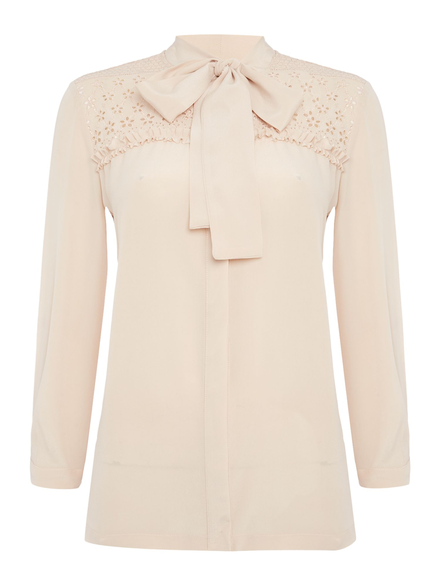 Max Mara Studio FATIMA longsleeve ruffle shirt with pussy bow, Powder Pink