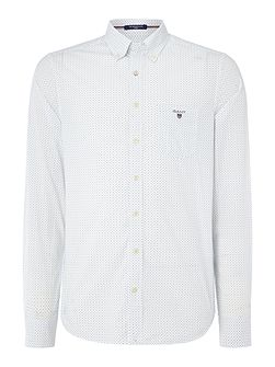 Cotton Polka-Dot Fitted Long-Sleeve Shirt