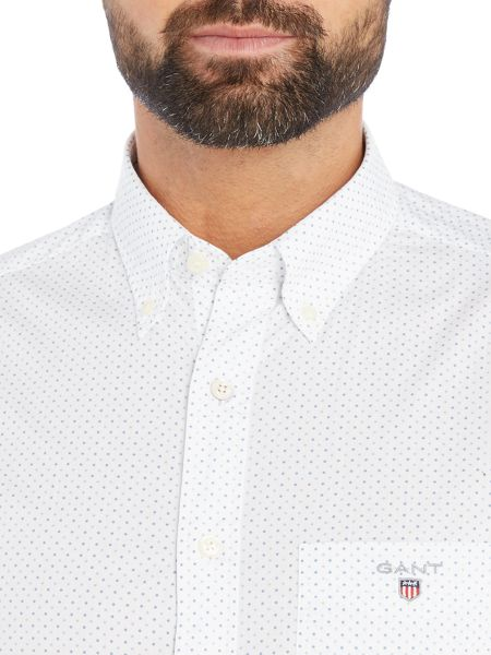 Gant Cotton Polka-Dot Fitted Long-Sleeve Shirt