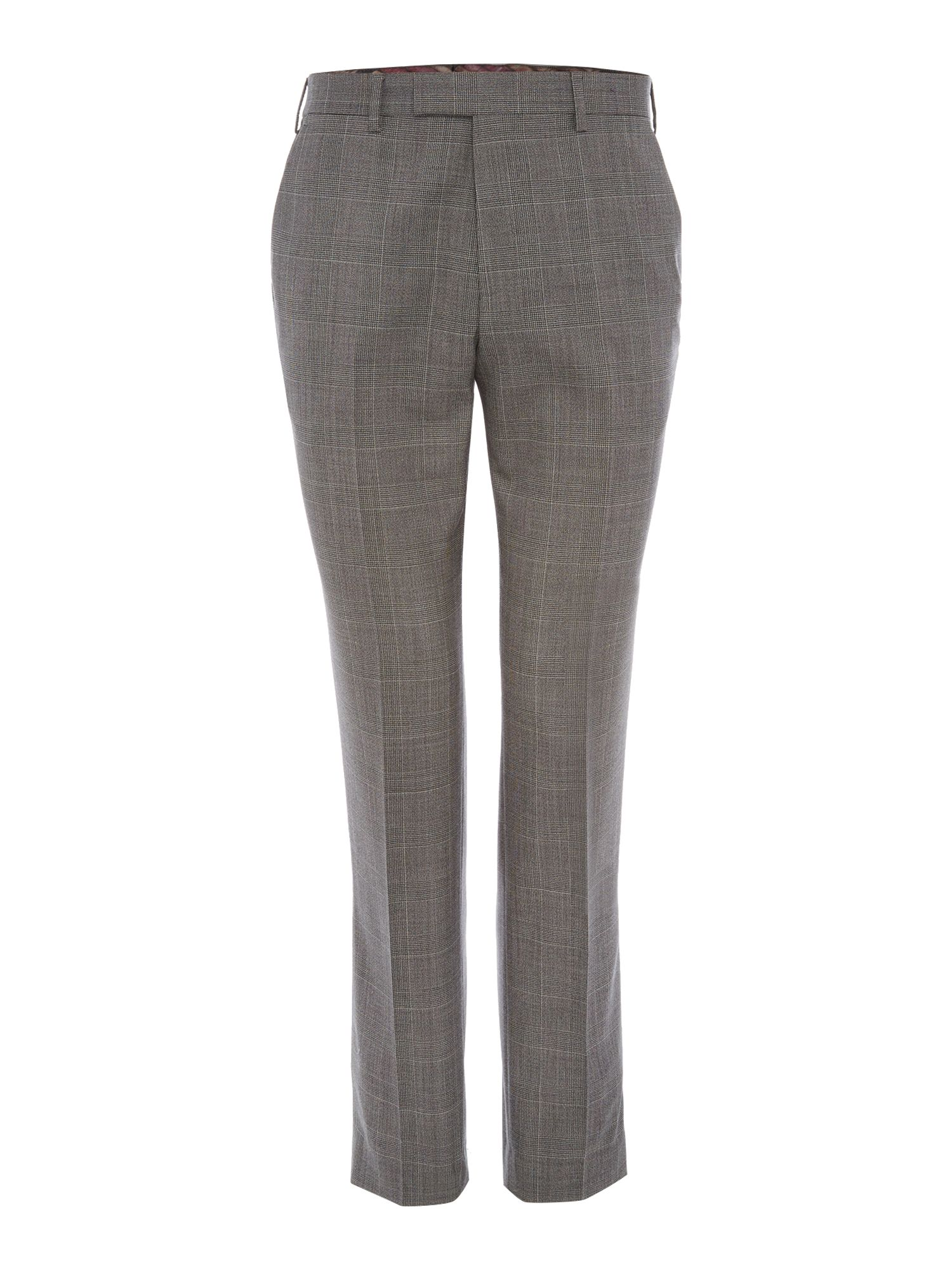 Men's Ted Baker Ted Baker Checked Slim Fit Trousers, Charcoal