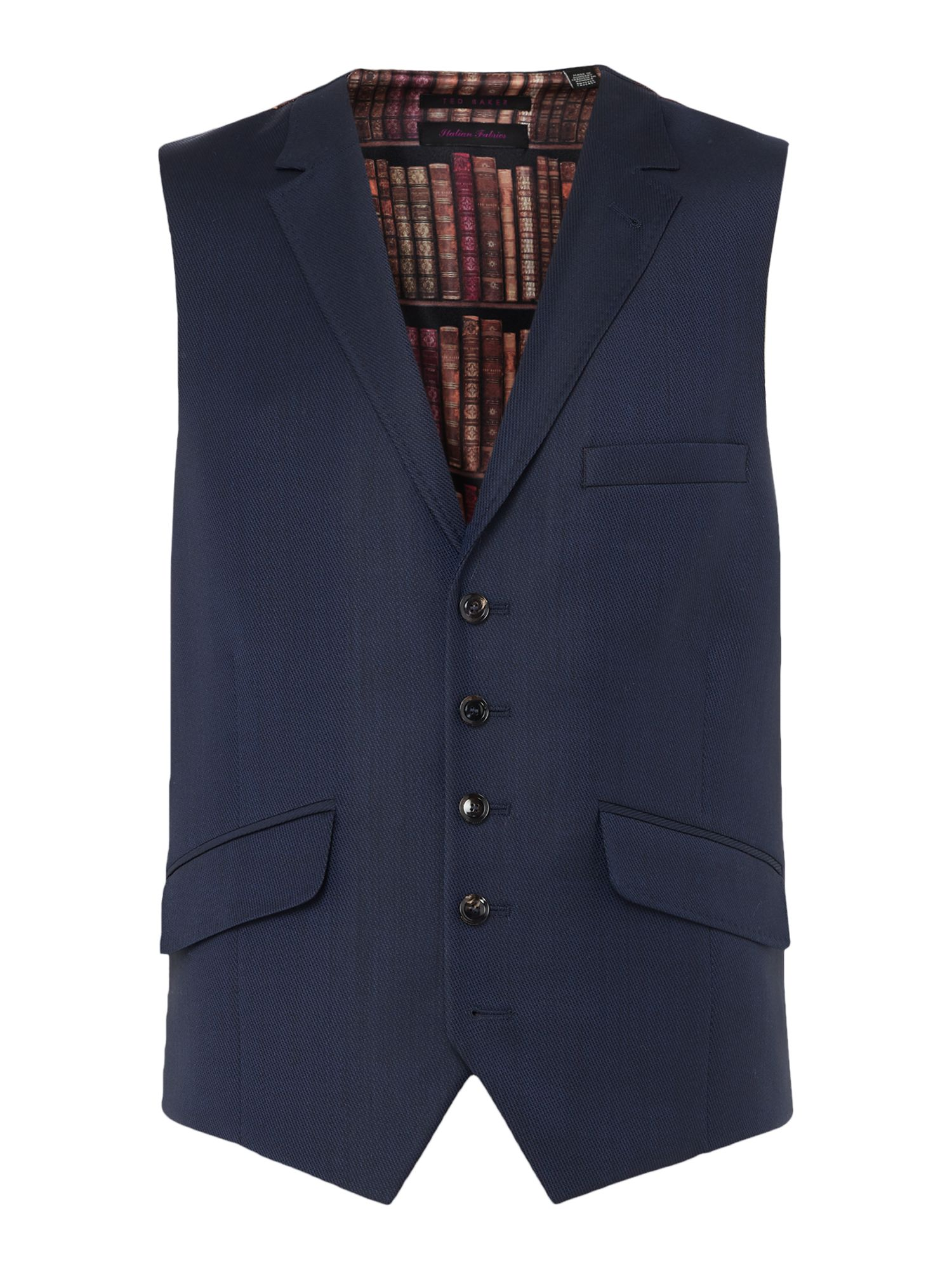 Men's Ted Baker Sterling Checked Slim Fit Waistcoat, Navy
