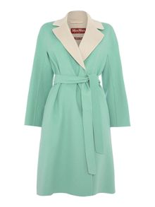 Max Mara KEY Double Breasted wool coat and contrast collar