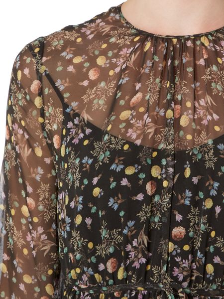 Max Mara CERTO 3/4 sleeve silk floral print midi dress