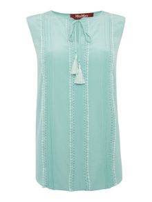 Max Mara PIOPPO sleeveless blouse with ruffle tie