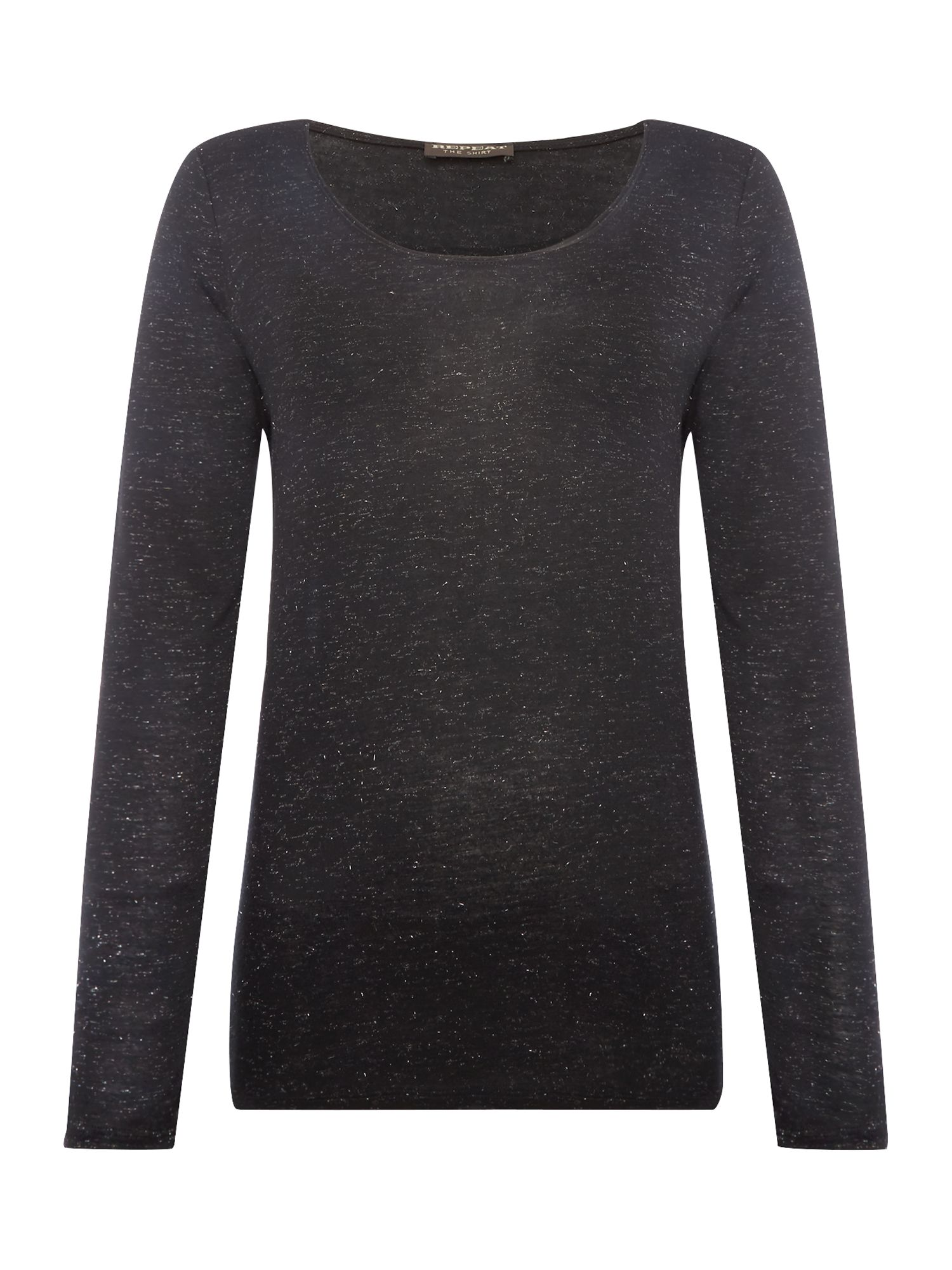 Repeat Cashmere Round neck long sleeve sparkle top, Black