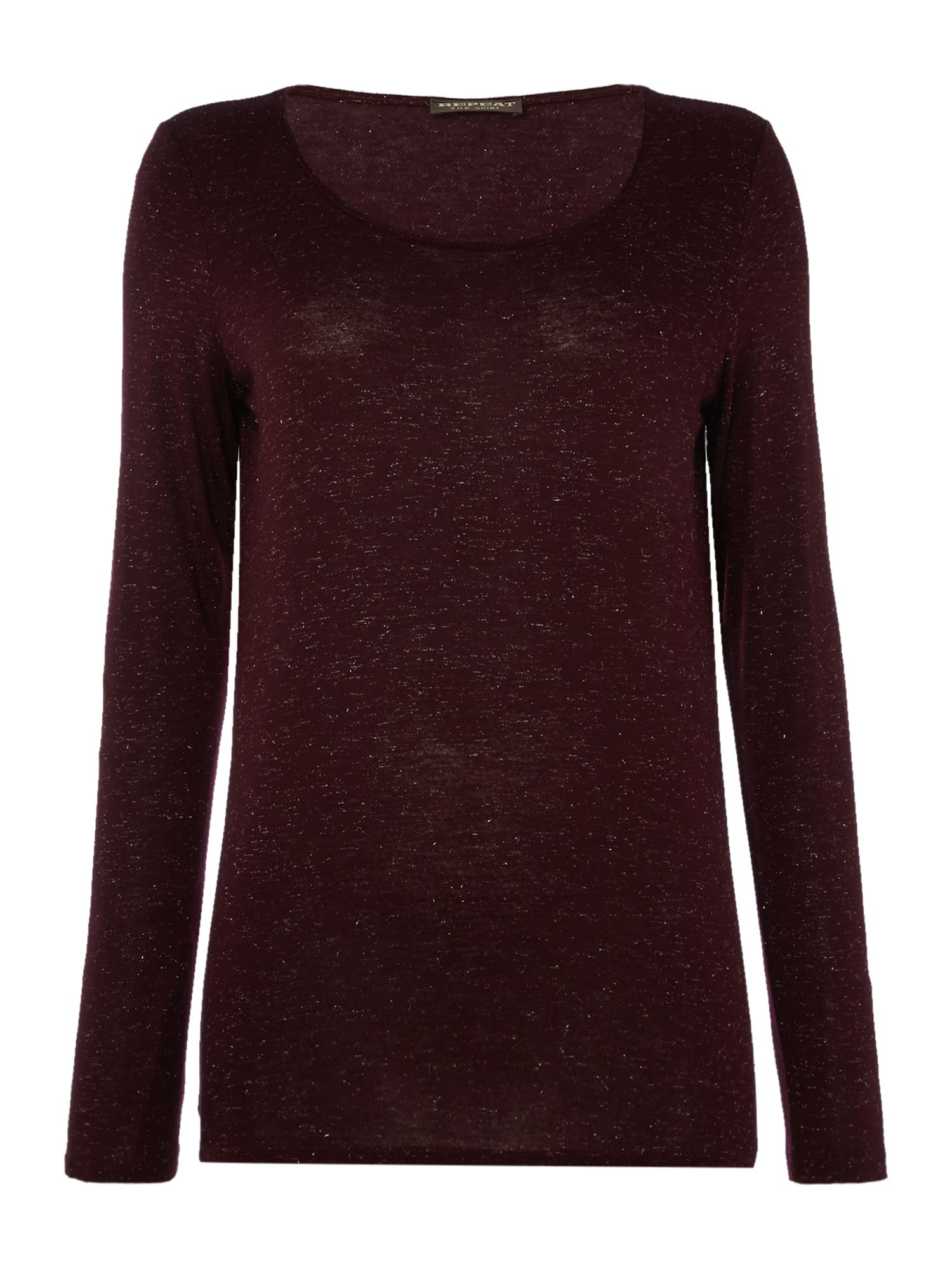Repeat Cashmere Round neck long sleeve sparkle top, Red