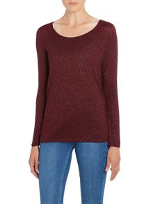 Repeat Cashmere Round neck long sleeve sparkle top