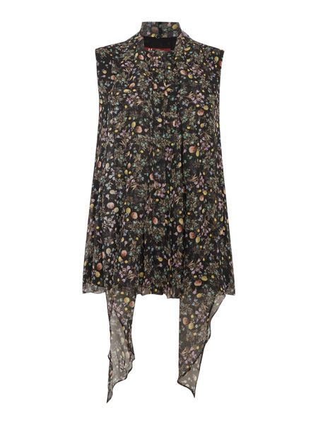 Max Mara APUANIA sleeveless silk printed pussy bow top