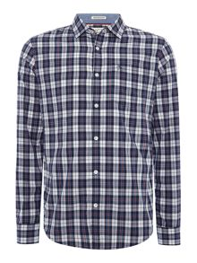 Original Penguin Small-Check Oxford Trim Long-Sleeve Shirt