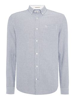 Brushed-Stripe Oxford Long-Sleeve Shirt