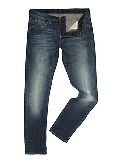 Luke tapered fit `steep green` mid wash jeans