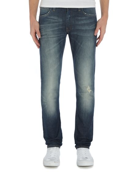 Lee Luke tapered fit `steep green` mid wash jeans