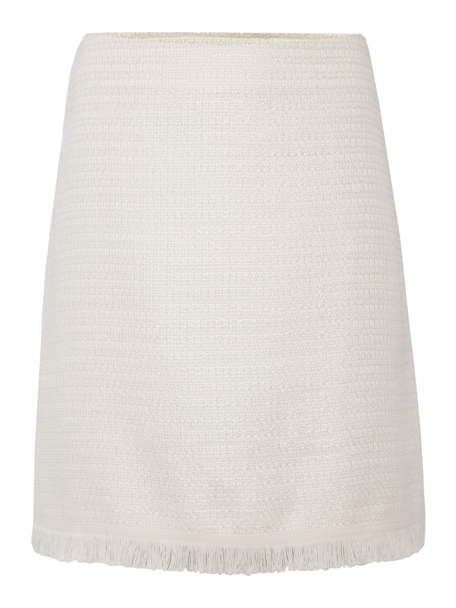 Max Mara Studio VALERY mini boucle skirt with frayed hem, White