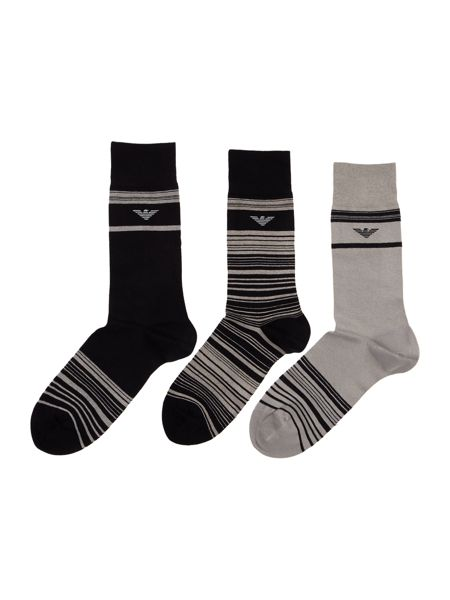 Emporio Armani 3 Pack Stripe and Solid Socks In A Tin