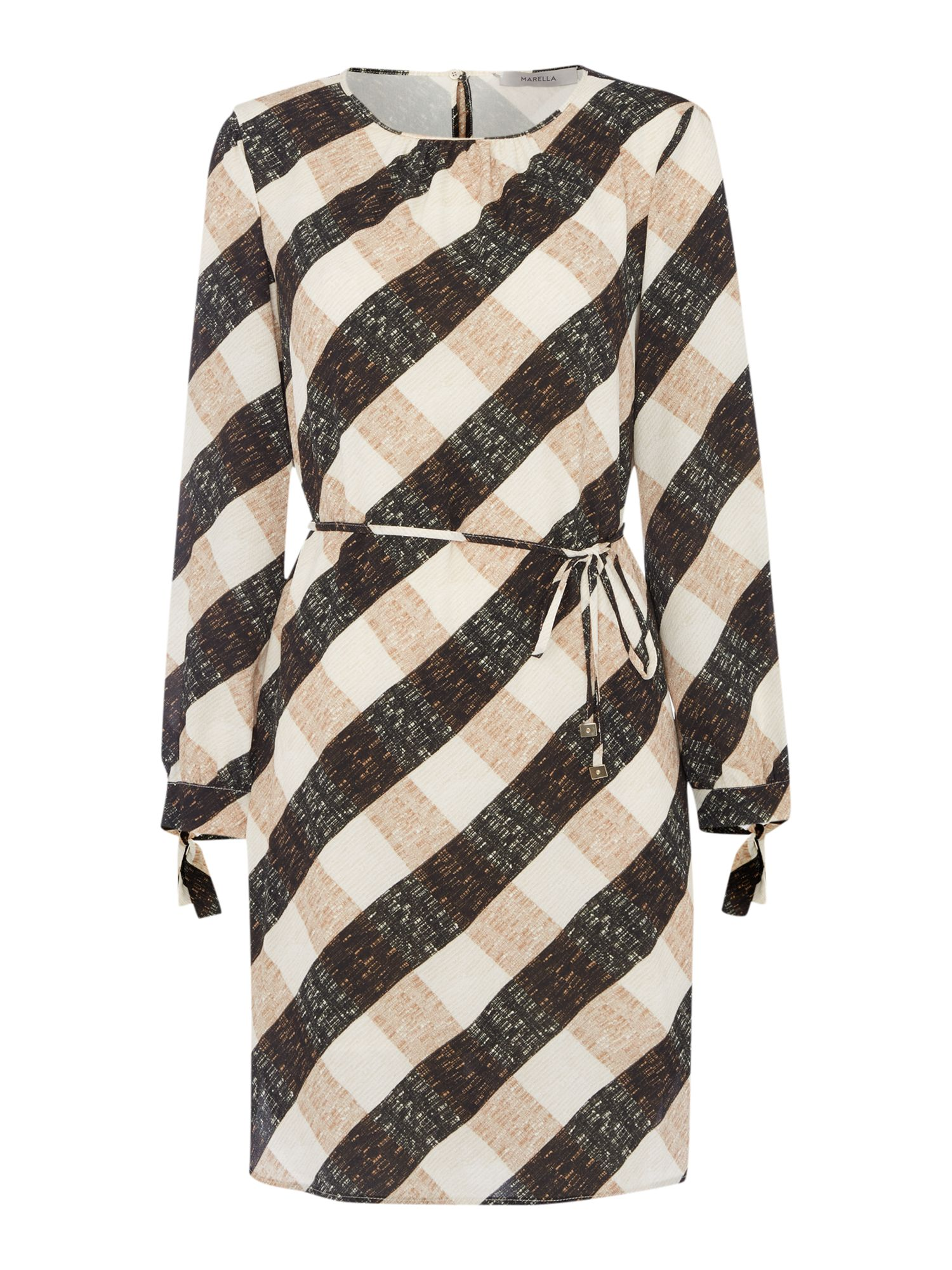 Marella TERZO large gingham print shift dress, Cream