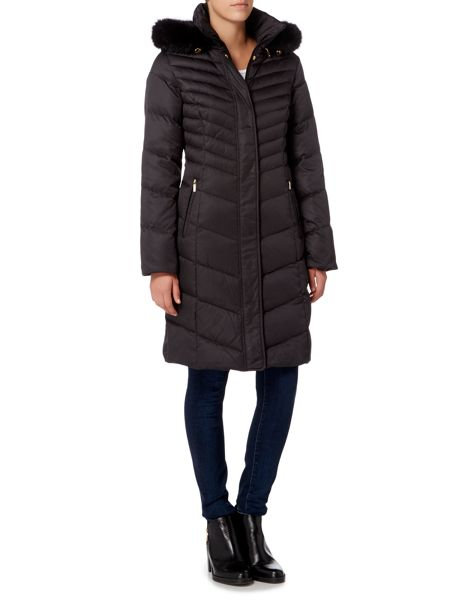 Ellen Tracy Midi Down Parka with Faux Fox Trim Hood