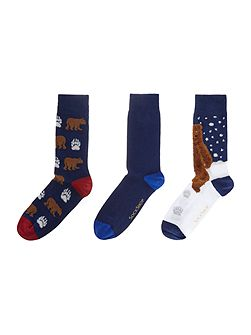 3 Pack Grizzly Bear Socks