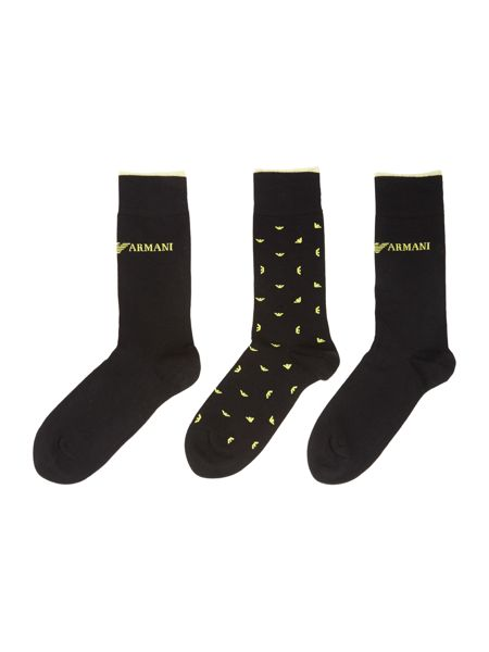 Emporio Armani 3 Pack Eagle and Solid Socks