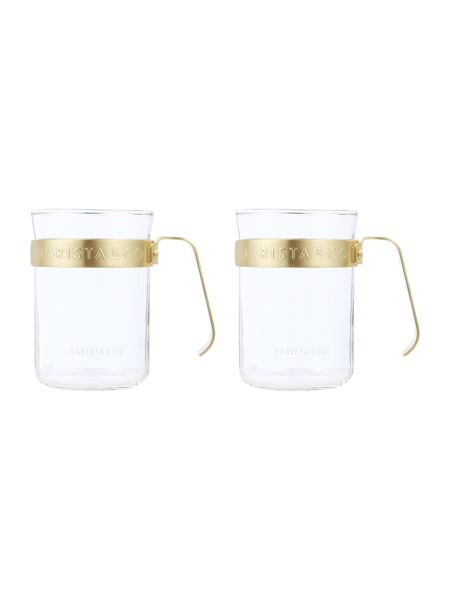 Barista & Co Metal Frame Cups, Electric Gold (set of two)