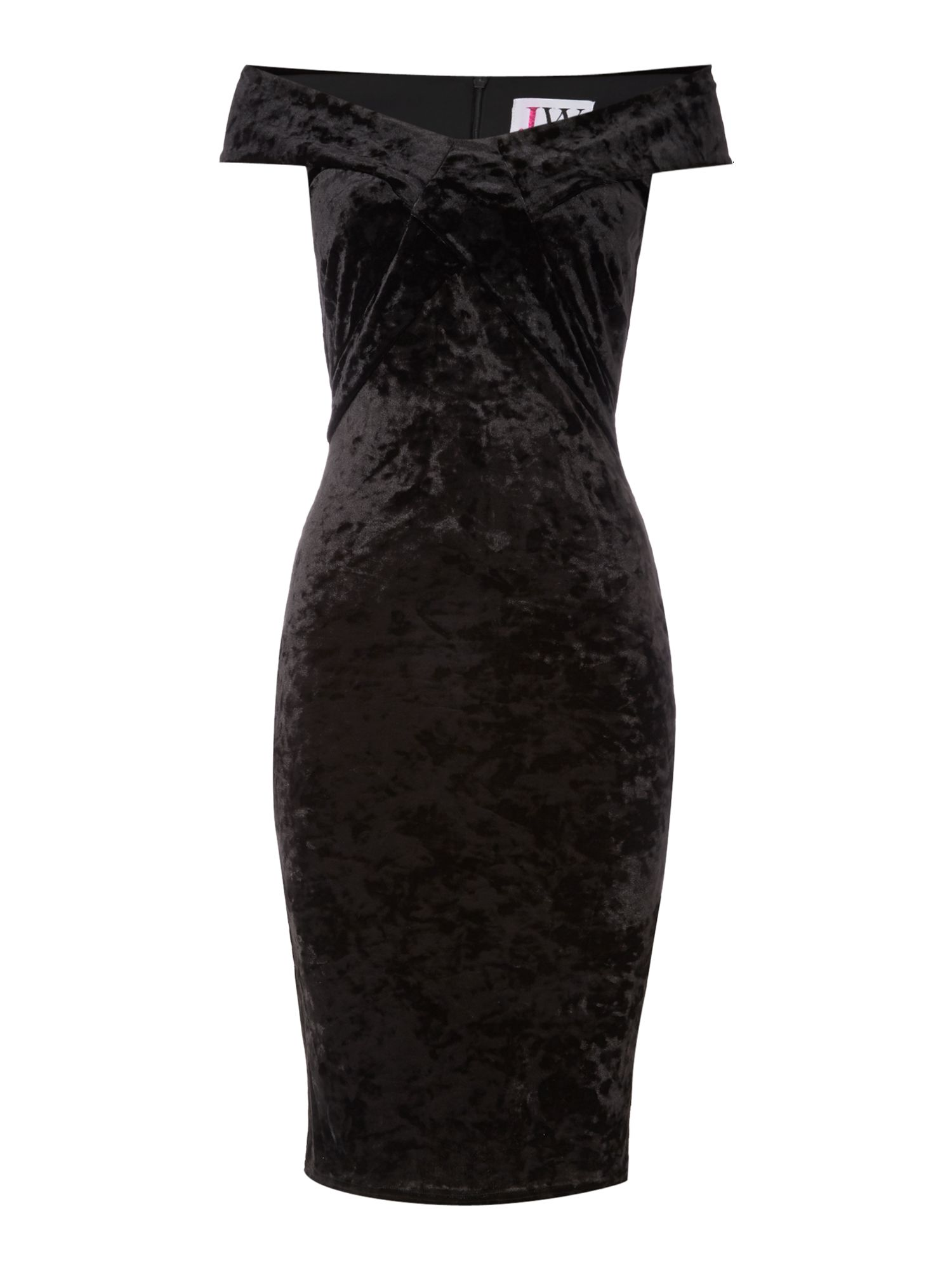 Jessica Wright Off Shoulder Velvet Bodycon Dress, Black