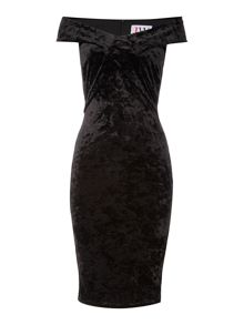 Jessica Wright Off Shoulder Velvet Bodycon Dress