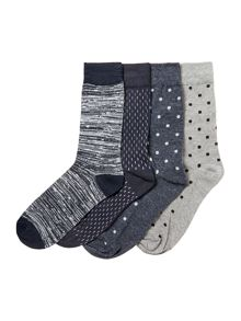 Jack & Jones 4 Pack Spotted Socks