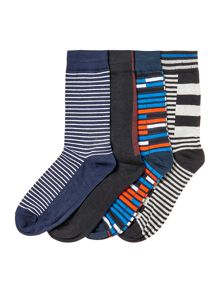 Jack & Jones 4 Pack Striped Pattern Socks