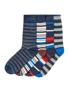 Jack & Jones 4 Pack Striped Socks