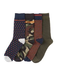 Jack & Jones 4 Pack Patterned Socks