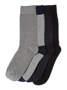 Jack & Jones 4 Pack Spot and Plain Socks