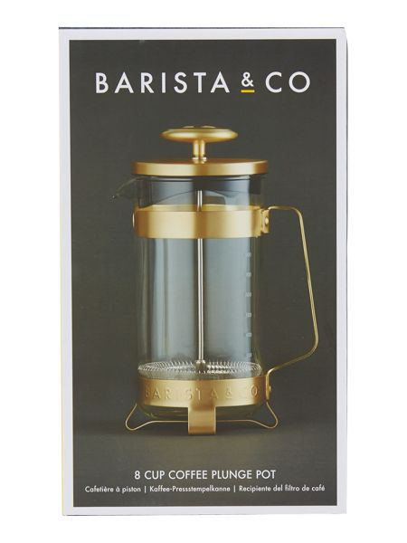 Barista & Co 8 cup plunge pot electric gold