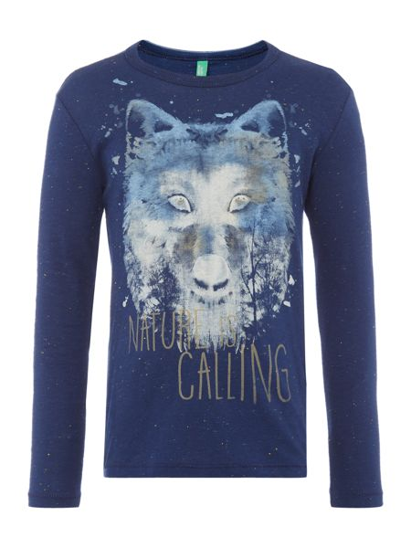 Benetton Boys Long Sleeve Wolf T-shirt