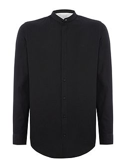 Two-Tone Mandarin Collar Long-Sleeve Shirt
