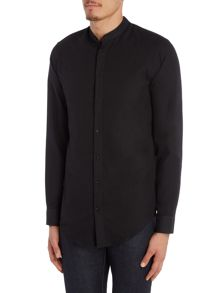 Selected Homme Two-Tone Mandarin Collar Long-Sleeve Shirt