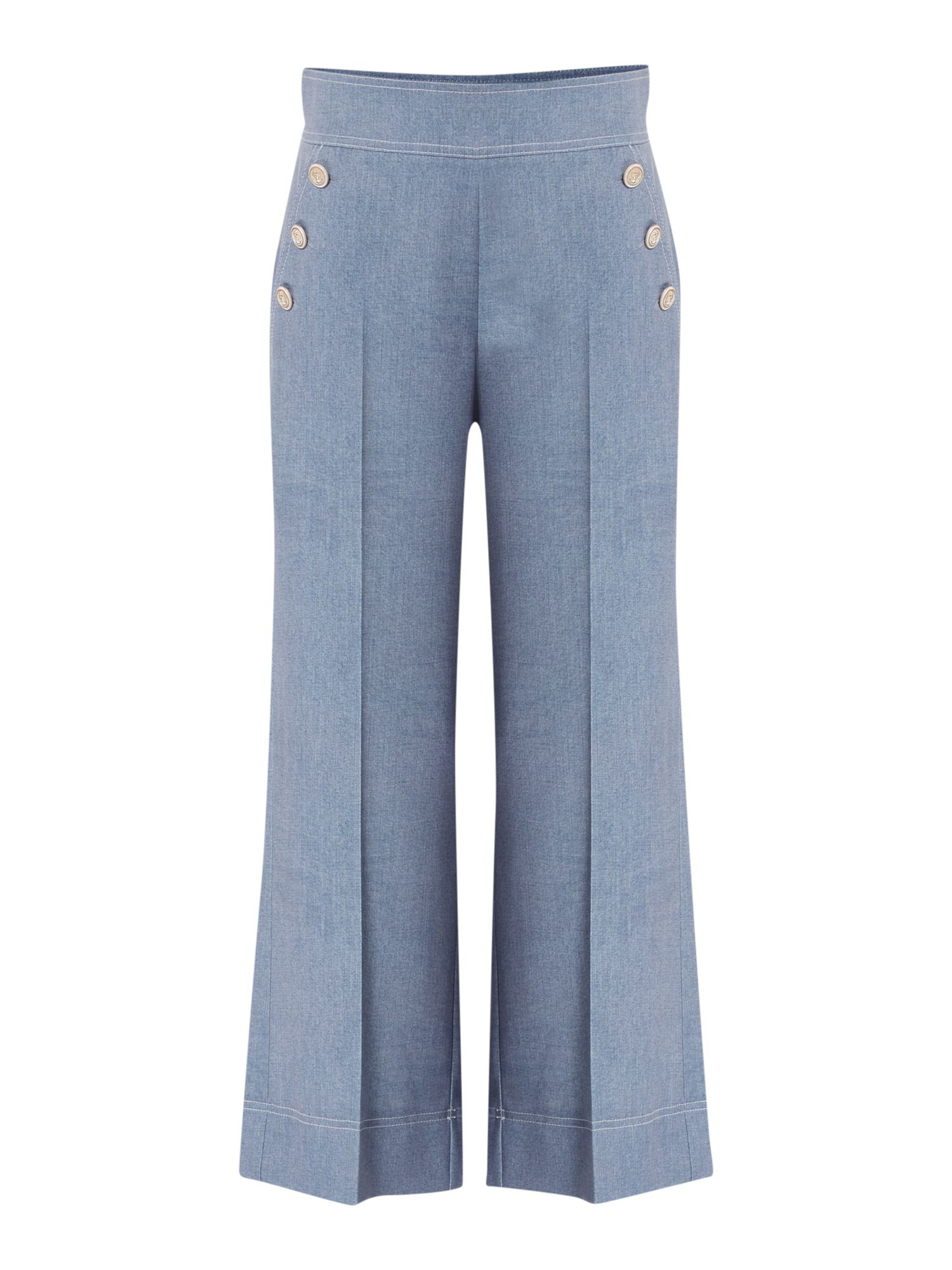 Marella GOLIA chambray culottes with front button detail, Blue