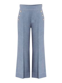 Marella GOLIA chambray culottes with front button detail